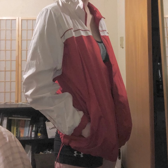 i5 Jackets & Blazers - Red and White Rain Jacket/Windbreaker